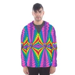 Rainbow Hearts 3d Depth Radiating Hooded Wind Breaker (men)