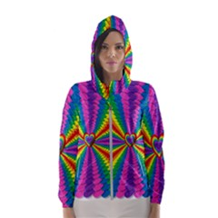 Rainbow Hearts 3d Depth Radiating Hooded Wind Breaker (women)