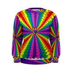 Rainbow Hearts 3d Depth Radiating Women s Sweatshirt