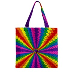 Rainbow Hearts 3d Depth Radiating Zipper Grocery Tote Bag