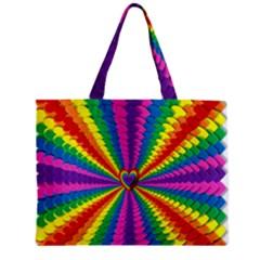 Rainbow Hearts 3d Depth Radiating Zipper Mini Tote Bag