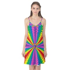Rainbow Hearts 3d Depth Radiating Camis Nightgown