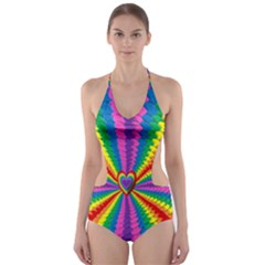 Rainbow Hearts 3d Depth Radiating Cut Out One Piece Swimsuit