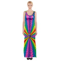 Rainbow Hearts 3d Depth Radiating Maxi Thigh Split Dress