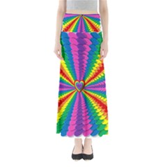 Rainbow Hearts 3d Depth Radiating Full Length Maxi Skirt