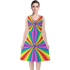 Rainbow Hearts 3d Depth Radiating V Neck Midi Sleeveless Dress