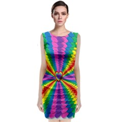 Rainbow Hearts 3d Depth Radiating Classic Sleeveless Midi Dress
