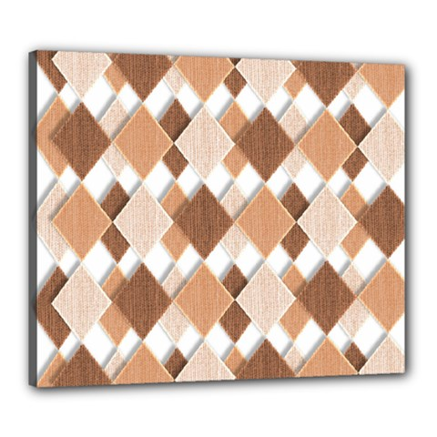 Fabric Texture Geometric Canvas 24  X 20