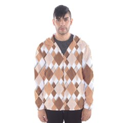 Fabric Texture Geometric Hooded Wind Breaker (men)