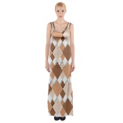 Fabric Texture Geometric Maxi Thigh Split Dress