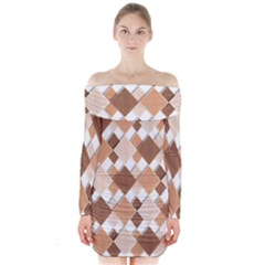 Fabric Texture Geometric Long Sleeve Off Shoulder Dress