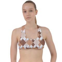 Fabric Texture Geometric Criss Cross Racerback Sports Bra
