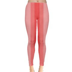 Red Monochrome Vertical Stripes Leggings  by Nexatart