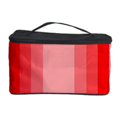Red Monochrome Vertical Stripes Cosmetic Storage Case