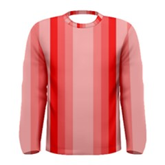 Red Monochrome Vertical Stripes Men s Long Sleeve Tee