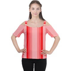 Red Monochrome Vertical Stripes Cutout Shoulder Tee