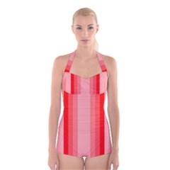 Red Monochrome Vertical Stripes Boyleg Halter Swimsuit