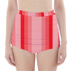 Red Monochrome Vertical Stripes High Waisted Bikini Bottoms