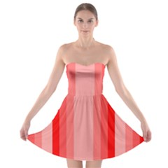 Red Monochrome Vertical Stripes Strapless Bra Top Dress