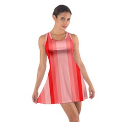 Red Monochrome Vertical Stripes Cotton Racerback Dress