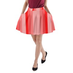 Red Monochrome Vertical Stripes A Line Pocket Skirt
