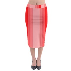 Red Monochrome Vertical Stripes Midi Pencil Skirt