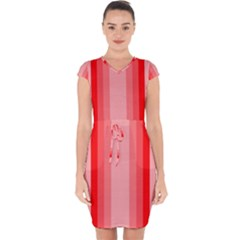 Red Monochrome Vertical Stripes Capsleeve Drawstring Dress