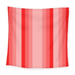 Red Monochrome Vertical Stripes Square Tapestry (large)