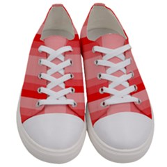 Red Monochrome Vertical Stripes Women s Low Top Canvas Sneakers