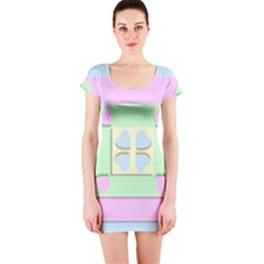 Hearts 3d Decoration Design Love Short Sleeve Bodycon Dress