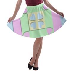Hearts 3d Decoration Design Love A Line Skater Skirt