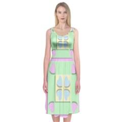 Hearts 3d Decoration Design Love Midi Sleeveless Dress