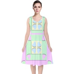 Hearts 3d Decoration Design Love V Neck Midi Sleeveless Dress