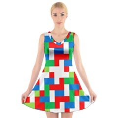 Geometric Maze Chaos Dynamic V Neck Sleeveless Skater Dress