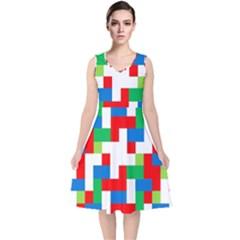 Geometric Maze Chaos Dynamic V Neck Midi Sleeveless Dress