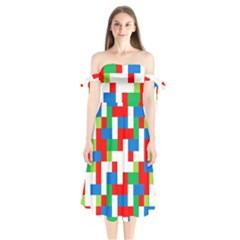 Geometric Maze Chaos Dynamic Shoulder Tie Bardot Midi Dress