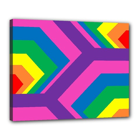 Geometric Rainbow Spectrum Colors Canvas 20  X 16
