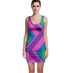 Geometric Rainbow Spectrum Colors Bodycon Dress