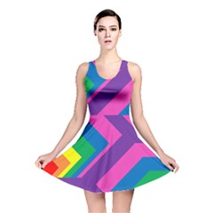 Geometric Rainbow Spectrum Colors Reversible Skater Dress