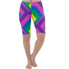 Geometric Rainbow Spectrum Colors Cropped Leggings
