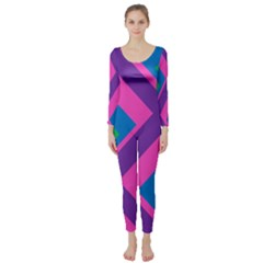 Geometric Rainbow Spectrum Colors Long Sleeve Catsuit