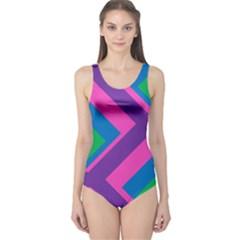 Geometric Rainbow Spectrum Colors One Piece Swimsuit