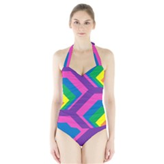 Geometric Rainbow Spectrum Colors Halter Swimsuit