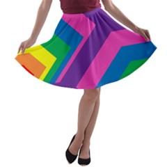 Geometric Rainbow Spectrum Colors A Line Skater Skirt