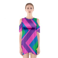 Geometric Rainbow Spectrum Colors Shoulder Cutout One Piece