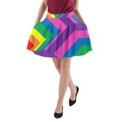 Geometric Rainbow Spectrum Colors A Line Pocket Skirt