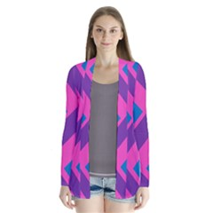 Geometric Rainbow Spectrum Colors Drape Collar Cardigan