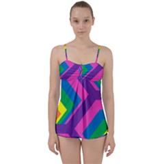 Geometric Rainbow Spectrum Colors Babydoll Tankini Set