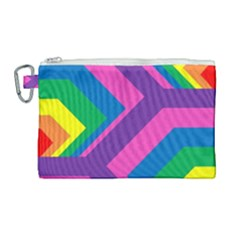 Geometric Rainbow Spectrum Colors Canvas Cosmetic Bag (large) by Nexatart