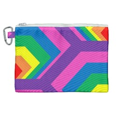 Geometric Rainbow Spectrum Colors Canvas Cosmetic Bag (xl) by Nexatart